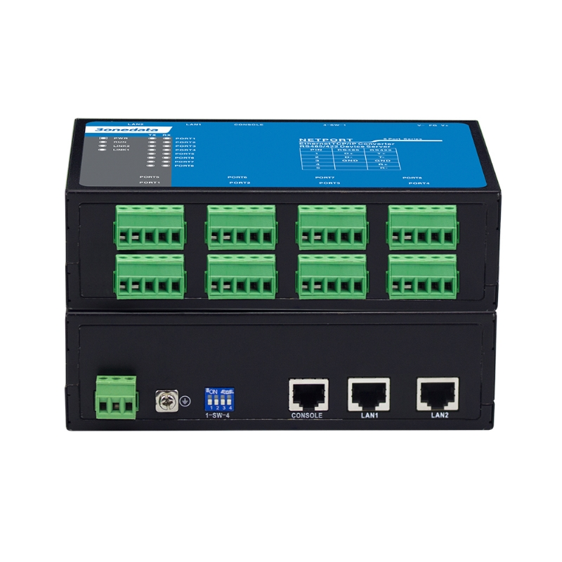 8-port RS-232/485/422 to 2-port Ethernet Converter