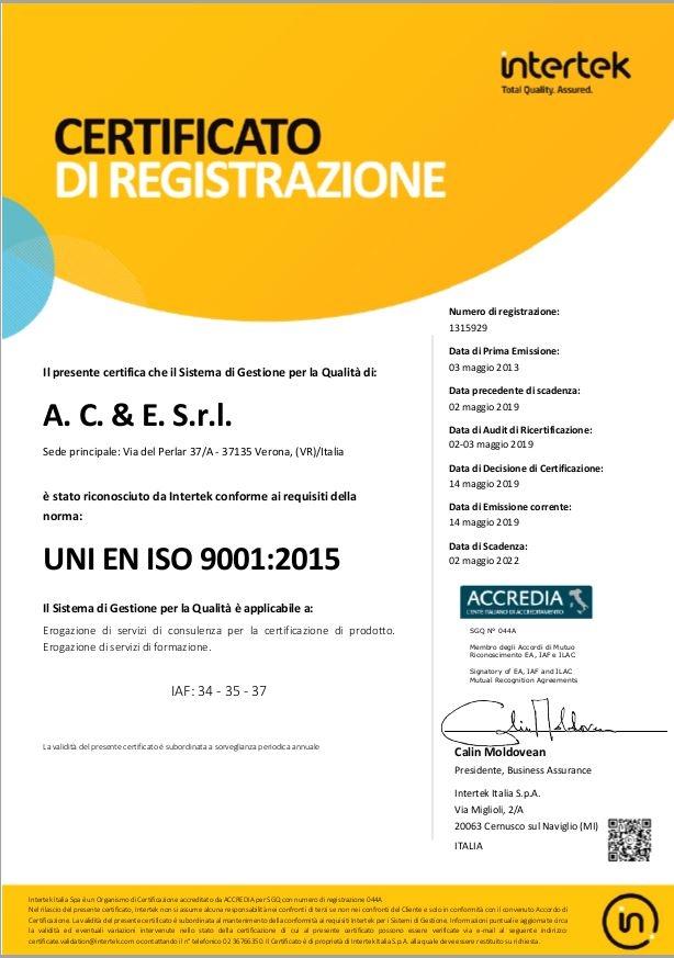 Certificato UNI EN ISO 9001:2015