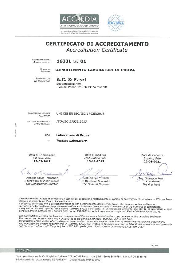 Certificato di Accreditamento
