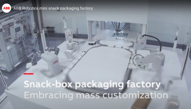 ABB Robotics mini snack packaging factory - meals assembling