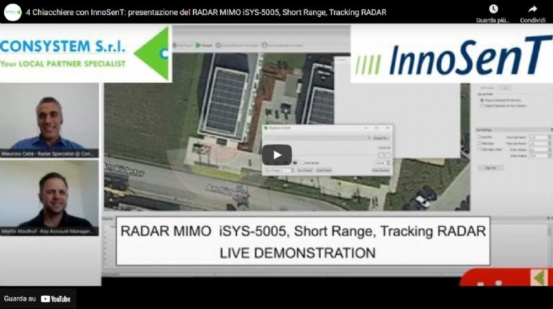 4 Chiacchiere con InnoSenT: presentazione del RADAR MIMO iSYS-5005, Short Range, Tracking RADAR