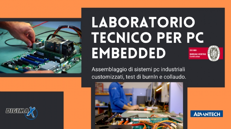 Assemblaggio di sistemi pc industriali customizzati, test di burnIn e collaudo