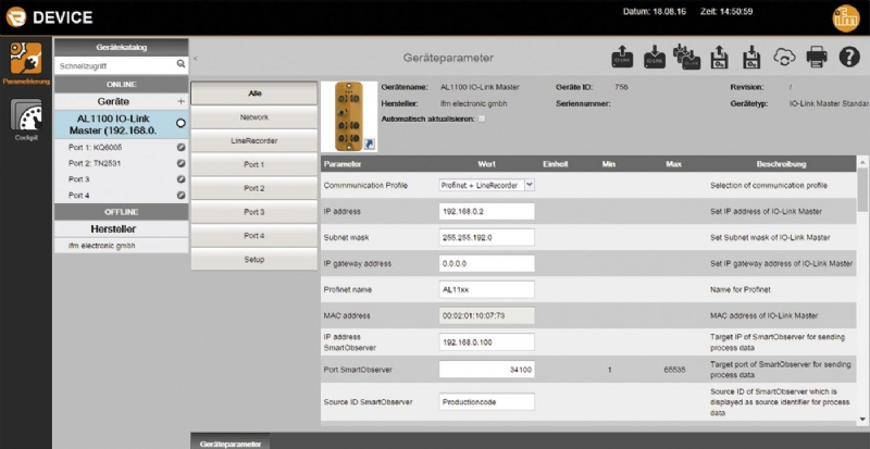 Software  LR DEVICE  per la parametrizzazione tramite master IO-Link