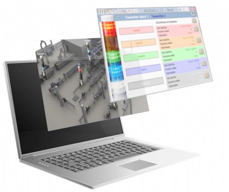 Sistema WIRELESS Patlite per il monitoraggio della produzione e la raccolta dati.